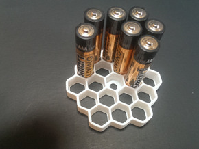 Honeycomb Battery Dispenser AAA  in White Strong & Flexible Polished