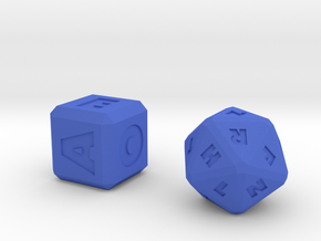 FUTURISTIC Roman Letter Dice in Blue Strong & Flexible Polished