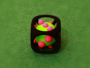 Dice No.1-c Green S (balanced) (2.4cm/0.94in) in Full Color Sandstone