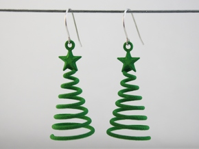 Spiral Christmas Tree w Star Earrings in Green Strong & Flexible Polished