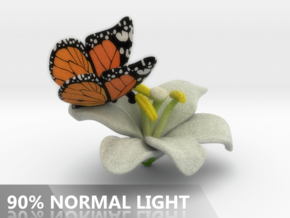 Butterfly And Lily Flower - S in Full Color Sandstone