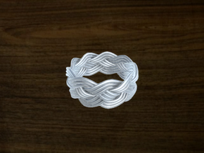 Turk's Head Knot Ring 4 Part X 9 Bight - Size 8 in White Strong & Flexible