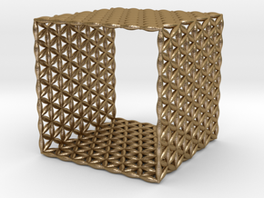 Flower Of Life Hexahedron (Cube) in Polished Gold Steel