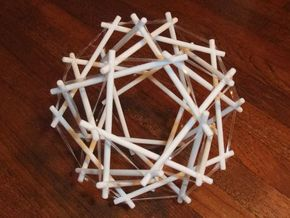 Tensegrity Icosidodedahedron 1 in White Strong & Flexible