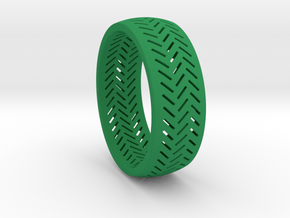 Herringbone Ring Size 12 in Green Strong & Flexible Polished
