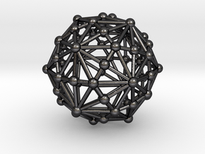 0318 Disdyakis Triacontahedron (a=1cm) #003 in Polished Grey Steel