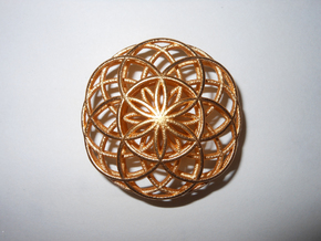 Flower of Life Charm in Matte Gold Steel