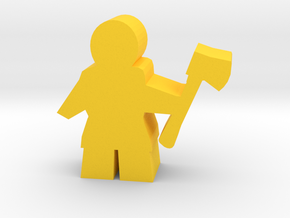 Game Piece, Worker with axe in Yellow Strong & Flexible Polished