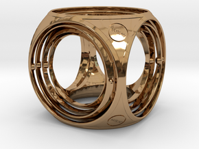Gyro the cube (small) in Polished Brass