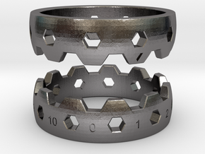 Hex Reminder Ring Size 6 in Polished Nickel Steel