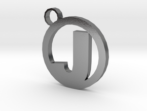 Keychain with your letter in Polished Silver