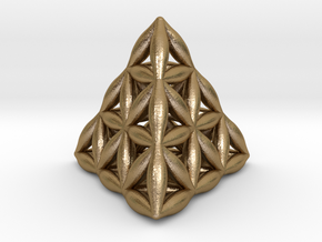 Flower Of Life Tetrahedron in Polished Gold Steel
