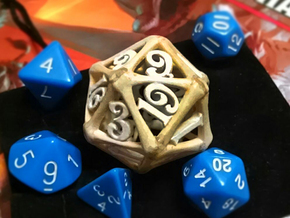 D20 Bone Die in White Strong & Flexible Polished