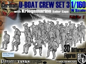 1-160 German U-Boot Crew Set3 in Frosted Ultra Detail