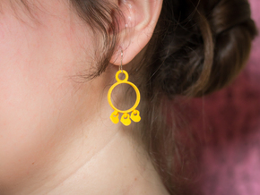 Heart Charm Earrings in Yellow Strong & Flexible Polished