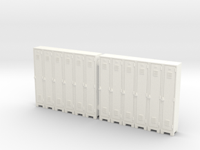 Locker 01. HO Scale (1:87) in White Strong & Flexible Polished