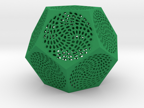 Voronoi Dodecahedron Lampshade ~ 120mm tall in Green Strong & Flexible Polished