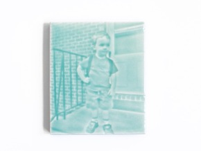 Celadon Selfie Tile I (Beveled Edge) in Gloss Celadon Green Porcelain