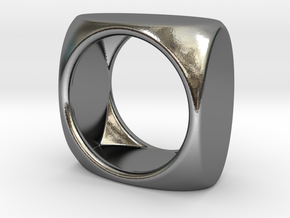 Square Ring model D - size 10 in Polished Silver