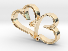 Two Hearts in Love Pendant - Amour Collection in 14k Gold Plated