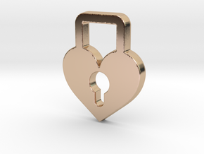 Heart Lock Pendant - Amour Collection in 14k Rose Gold Plated