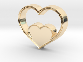 Two Hearts in One Pendant - Amour Collection in 14k Gold Plated