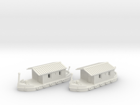 2 Hausboote Set 2 - 1:220 (Z scale)  in White Strong & Flexible
