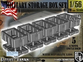 1-56 Military Storage Box Set in White Strong & Flexible Polished
