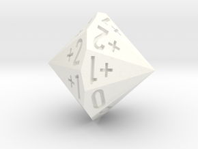 d18 as 2dF (Double Fudge Dice In One Bipolar Die) in White Strong & Flexible Polished