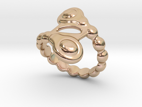 Spiral Bubbles Ring 17 - Italian Size 17 in 14k Rose Gold Plated