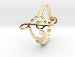 Size 9 Clefs Ring in 14k Gold Plated