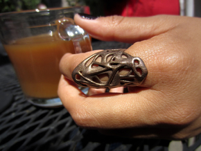 The Weave Ring in Matte Bronze Steel