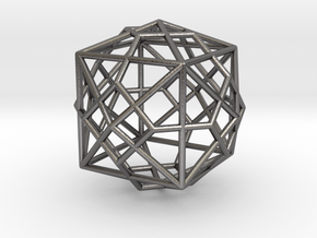 0493 Truncated Octahedron + Dual in Polished Nickel Steel
