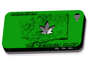 iPhone 4 Washington Marijuana Leaf in Green Strong & Flexible Polished