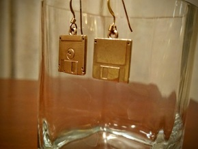 Floppy Disk Earrings in Polished Brass
