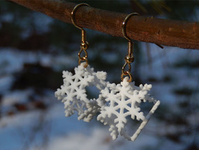Snowflake Earrings 2 in White Strong & Flexible