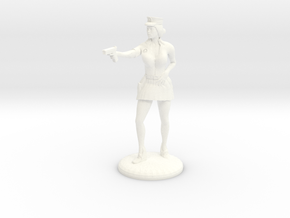 Lady Cop pointing her gun - 25mm version in White Strong & Flexible Polished