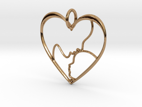 Mother and Child Heart Pendant in Polished Brass