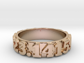 Pi Sequence Ring Size 7 in 14k Rose Gold Plated