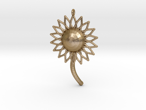 Sunfower Pendant in Polished Gold Steel