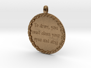 To Draw, You Must Close | Jewelry Quote Necklace. in Raw Brass