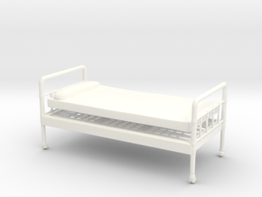 Bed 01.  1:24 scale in White Strong & Flexible Polished