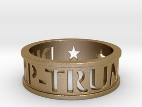 """DUMP TRUMP"" Ring  in Polished Gold Steel"