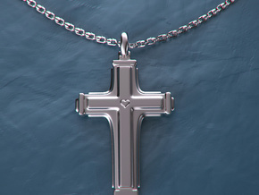 Cross with small heart. in Premium Silver