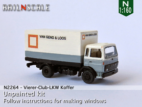 Vierer-Club-LKW Koffer (N 1:160) in Frosted Ultra Detail