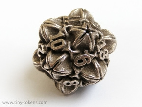 'Floral' D20 balanced gaming die in Stainless Steel