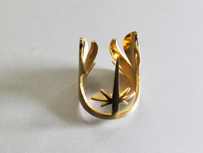 3d Star Wars Jedi, Size 6 in 14k Gold Plated