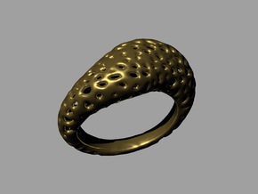 Volcanic stone ring T18.5 (size us: 8.5) in Raw Brass