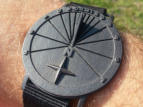 Sundial Wristwatch With Compass Rose For 27.75°N  in Polished Grey Steel