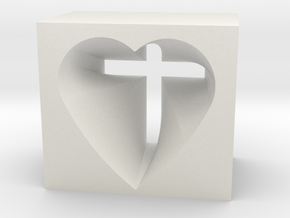 Heart And Cross in White Strong & Flexible